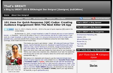 http://blog.greattv.com/2010/06/101-uses-for-quick-response-qr-codes-creating-audience-engagement-with-the-next-killer-us-app/