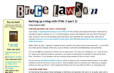 http://www.brucelawson.co.uk/2009/marking-up-a-blog-with-html-5-part-2/