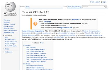 http://en.wikipedia.org/wiki/Title_47_CFR_Part_15