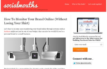 http://socialmouths.com/blog/2011/02/17/how-to-monitor-your-brand-online-without-losing-your-shirt/