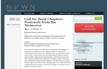 http://nordicworlds.net/2010/12/09/call-for-book-chapters-postcards-from-the-metaverse/