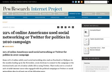 http://www.pewinternet.org/Reports/2011/Politics-and-social-media.aspx