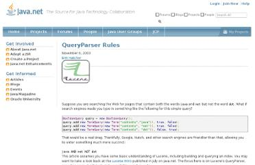 http://today.java.net/pub/a/today/2003/11/07/QueryParserRules.html