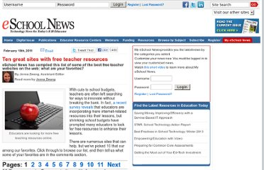 http://www.eschoolnews.com/2011/02/18/ten-great-sources-of-free-teacher-resources/