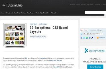 http://www.tutorialchip.com/inspiration/30-exceptional-css-based-layouts/