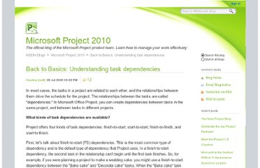 http://blogs.msdn.com/b/project/archive/2008/07/29/back-to-basics-understanding-task-dependencies.aspx