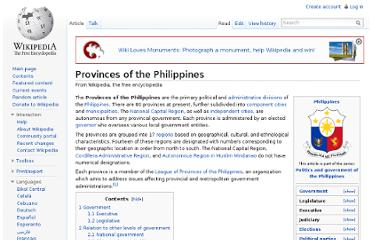 http://en.wikipedia.org/wiki/Provinces_of_the_Philippines