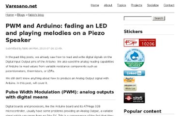 http://www.varesano.net/blog/fabio/pwm-and-arduino-fading-led-and-playing-melodies-piezo-speaker