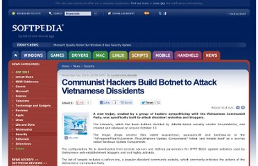 http://news.softpedia.com/news/Communist-Hackers-Build-Botnet-to-Attack-Vietnamese-Dissidents-163992.shtml