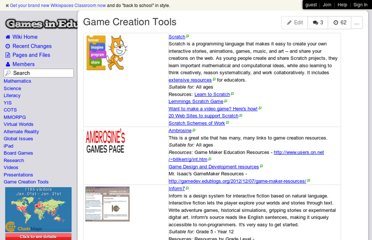 http://gamesined.wikispaces.com/Game+Creation+Tools