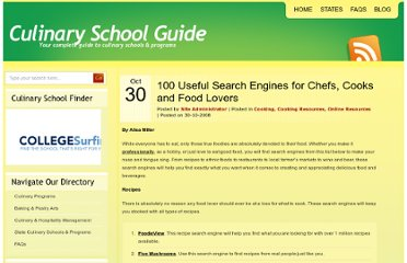 http://www.culinaryschoolguide.org/blog/2008/100-useful-search-engines-for-chefs-cooks-and-food-lovers/