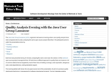 http://blog.martinig.ch/conferences/quality-analysis-evening-with-the-java-user-group-lausanne/