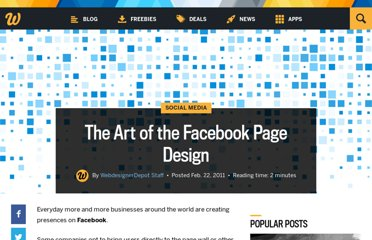 http://www.webdesignerdepot.com/2011/02/the-art-of-the-facebook-page-design/