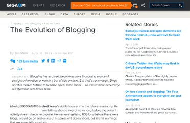 http://gigaom.com/2009/08/13/the-evolution-of-blogging/