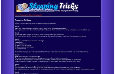 http://www.sleepingtricks.com/preparing-for-sleep.php