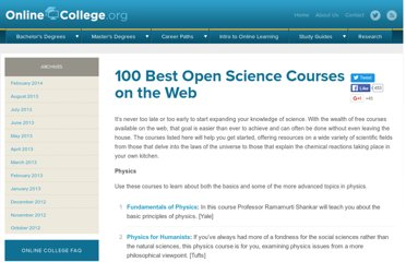 http://www.onlinecollege.org/2009/12/06/100-best-open-science-courses-on-the-web/