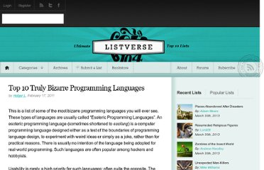 http://listverse.com/2011/02/17/top-10-truly-bizarre-programming-languages/