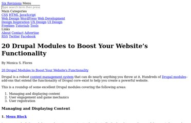 http://sixrevisions.com/tools/20-drupal-modules-to-boost-your-websites-functionality/