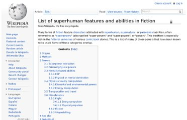 http://en.wikipedia.org/wiki/List_of_superhuman_features_and_abilities_in_fiction