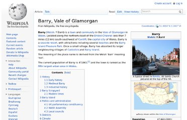 http://en.wikipedia.org/wiki/Barry,_Vale_of_Glamorgan