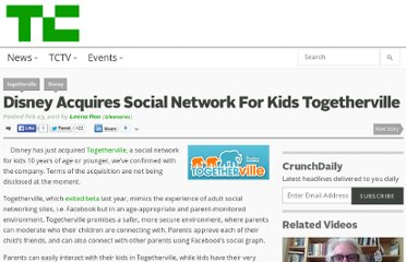 http://techcrunch.com/2011/02/23/disney-acquires-social-network-for-kids-togetherville/