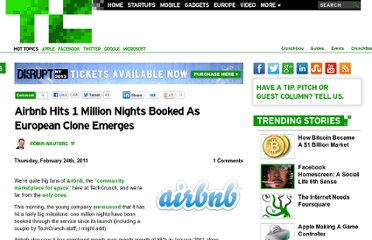http://techcrunch.com/2011/02/24/airbnb-hits-1-million-nights-booked-as-european-clone-emerges/