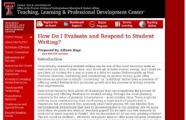 http://www.tltc.ttu.edu/teach/TLTC%20Teaching%20Resources/StudentWriting.asp