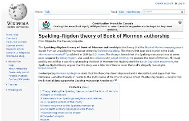 http://en.wikipedia.org/wiki/Spalding%E2%80%93Rigdon_theory_of_Book_of_Mormon_authorship