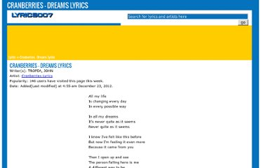 http://www.lyrics007.com/Cranberries%20Lyrics/Dreams%20Lyrics.html