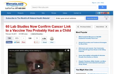http://articles.mercola.com/sites/articles/archive/2011/02/18/leading-vaccine-doctor-states-cancer-linked-to-polio-vaccine.aspx