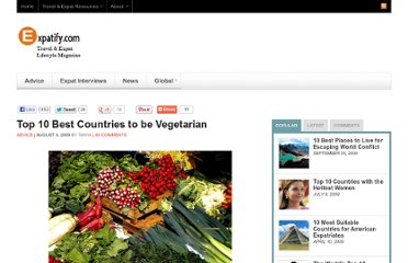 http://www.expatify.com/advice/best-countries-to-be-vegetarian.html