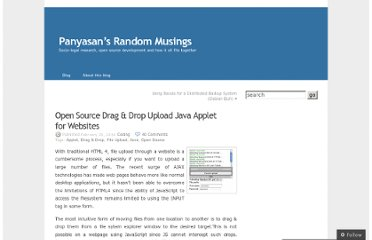 http://panyasan.wordpress.com/2008/02/29/open-source-drag-drop-upload-java-applet-for-websites/