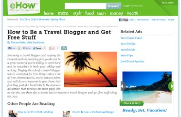 http://www.ehow.com/how_5075200_travel-blogger-stuff.html