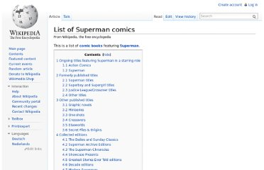 http://en.wikipedia.org/wiki/List_of_Superman_comics