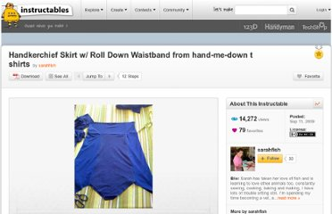 http://www.instructables.com/id/Handkerchief-Skirt-w-Roll-Down-Waistband-from-han/