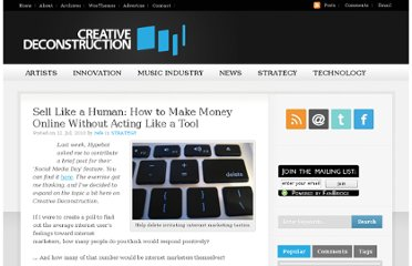 http://www.creativedeconstruction.com/2010/07/sell-like-a-human-how-to-make-money-online-without-acting-like-a-tool/
