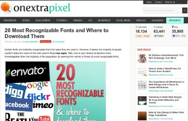 http://www.onextrapixel.com/2011/02/19/20-most-recognizable-fonts-and-where-to-download-them/