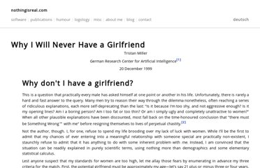 http://en.nothingisreal.com/wiki/Why_I_Will_Never_Have_a_Girlfriend