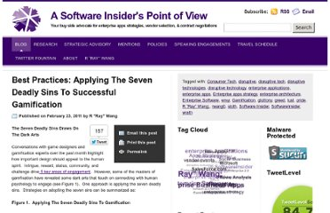 http://blog.softwareinsider.org/2011/02/23/best-practices-applying-the-seven-deadly-sins-to-successful-gamification/