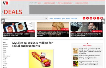 http://venturebeat.com/2011/02/28/mylikes-raises-5-6-million-for-social-endorsements/