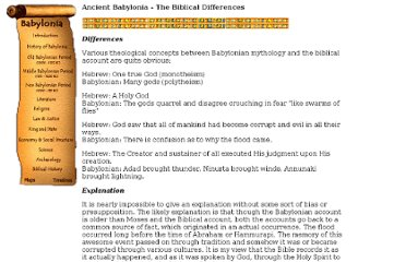 http://www.bible-history.com/babylonia/BabyloniaThe_Biblical_Differences.htm
