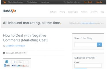 http://blog.hubspot.com/blog/tabid/6307/bid/8783/How-to-Deal-with-Negative-Comments-Marketing-Cast.aspx
