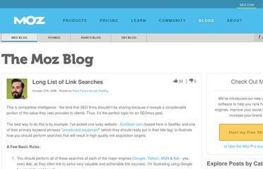 http://www.seomoz.org/blog/long-list-of-link-searches