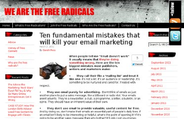 http://www.wearethefreeradicals.com/info/2011/03/ten-fundamental-mistakes-that-will-kill-your-email-marketing/