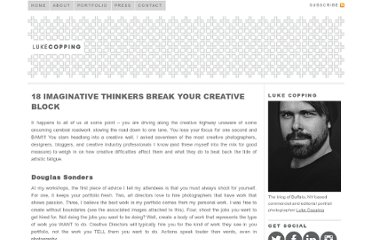 http://lukecopping.com/blog/index.php/18-creative-thinkers-break-your-artistic-stall/