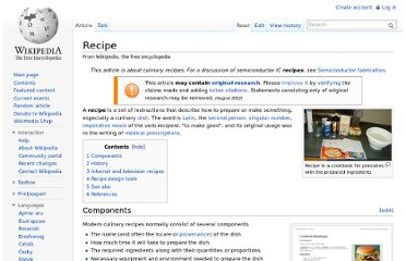 http://en.wikipedia.org/wiki/Recipe
