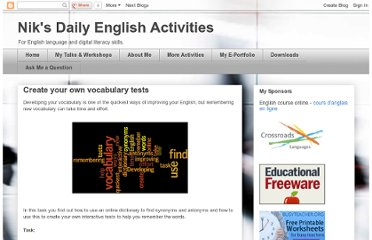http://daily-english-activities.blogspot.com/2011/03/create-your-own-vocabulary-tests.html