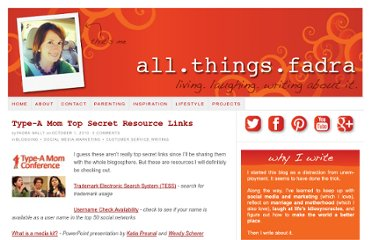 http://allthingsfadra.com/2010/10/type-a-mom-top-secret-resource-links/
