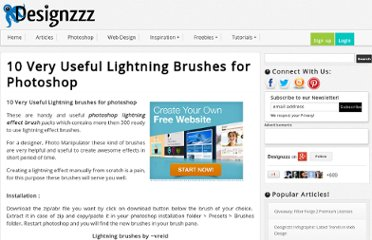 http://www.designzzz.com/useful-lightning-effect-photoshop-brushes/