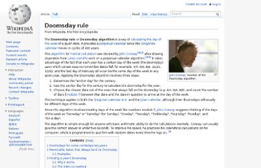 http://en.wikipedia.org/wiki/Doomsday_rule